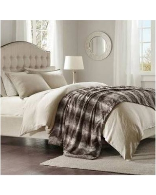 """Madison Park Zuri 96x80"""" Faux Fur Oversized Bed Throw in Chocolate - Olliix MP50-2919"""