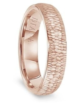 14k Rose Gold Hammered Finish Women's Flat Wedding Band by Diana - 5.5mm