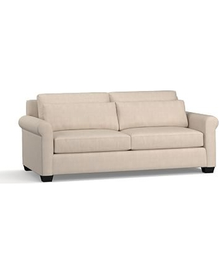 "York Roll Arm Upholstered Deep Seat Sofa 84"", Down Blend Wrapped Cushions, Sunbrella(R) Performance Sahara Weave Oatmeal"