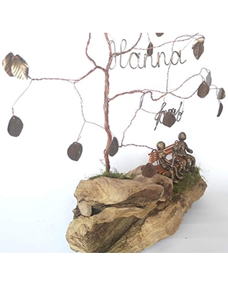 Gift for 8th Bronze Anniversary Personalized Family Wire Tree sculpture for husband or wife, Gift for 8 Years Wedding from his or her, eight marriage for a couple, for Men and Women
