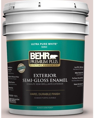 BEHR Premium Plus 5 gal. #N150-1 Mocha Ice Semi-Gloss Enamel Exterior Paint and Primer in One