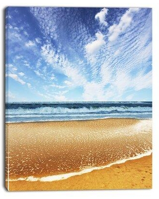 "Design Art 'Beautiful Sea Under Bright Sky' Photographic Print on Wrapped Canvas PT12202 Size: 20"" H x 12"" W x 1"" D"