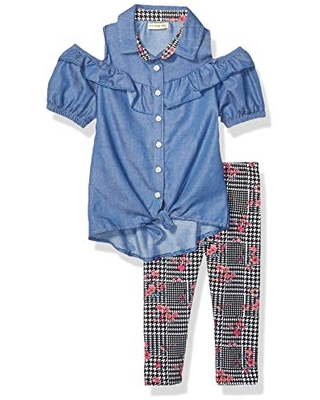 One Step Up Girls' Toddler Woven Tunic and Legging Set, Chambray Black Houndstooth, 3T