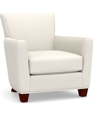 Irving Square Arm Upholstered Armchair without Nailheads, Polyester Wrapped Cushions, Performance Twill Warm White