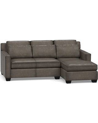 York Square Arm Leather Deep Seat Left Arm Sofa with Chaise Sectional with Bench Cushion, Polyester Wrapped Cushions, Leather Burnished Wolf Gray