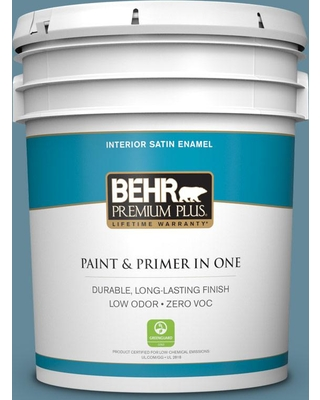 BEHR Premium Plus 5 gal. #bic-22 Relaxed Blue Satin Enamel Low Odor Interior Paint and Primer in One