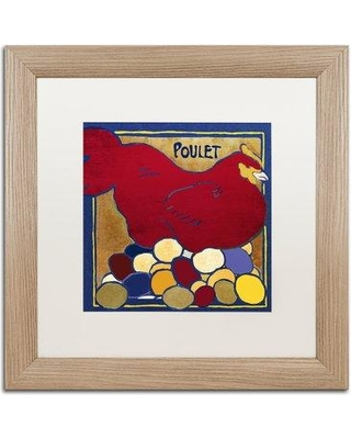 "Trademark Fine Art 'Poulets II' Framed Graphic Art ALI4433-T1 Mat Color: White Size: 16"" H x 16"" W x 0.5"" D"
