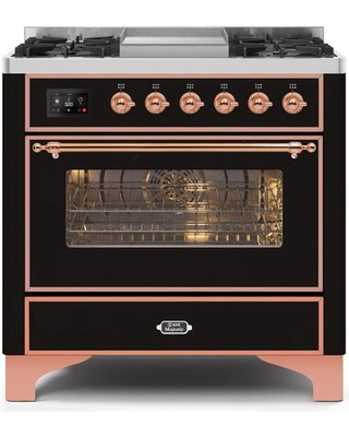 """UM09FDNS3BKP 36"""" Majestic II Series Dual Fuel Natural Gas Range with 6 Burners and Griddle 3.5 cu. ft. Oven Capacity TFT Oven Control Display"""