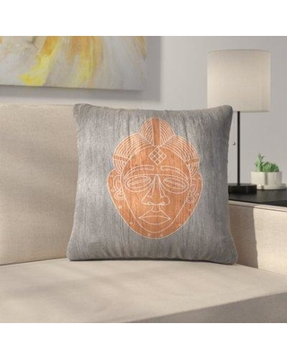 """East Urban Home African Mask Black Throw Pillow ETHF3072 Size: 14"""" x 14"""" Color: Orange"""