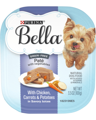 (12 Pack) Purina Bella Grain Free Natural Pate Wet Dog Food with Chicken Carrots & Potatoes 3.5 Oz. Trays