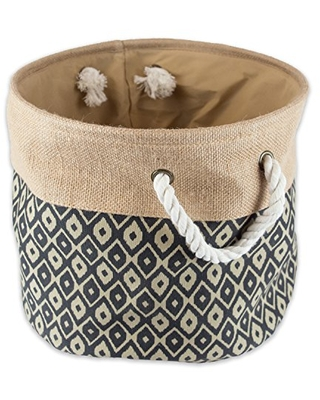 """DII Collapsible Burlap Storage Basket or Bin with Durable Cotton Handles, Home Organizational Solution for Office, Bedroom, Closet, Toys, & Laundry (Large Round – 16x15""""), Black Ikat"""