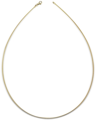 Italian Sterling Silver Round 2mm Yellow-gold-plated Omega Necklace (16-20') - Yellow (20 Inch)