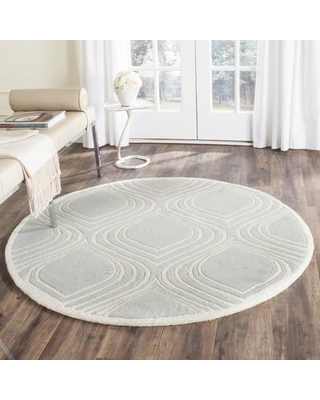 Wrought Studio Wilkin Hand-Tufted Gray/Ivory Area Rug VKGL5442 Rug Size: Round 5'