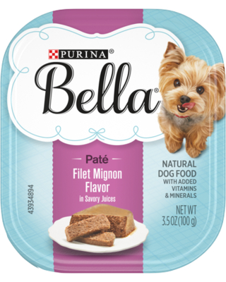 Purina Bella Natural Small Breed Pate Wet Dog Food Filet Mignon Flavor in Savory Juices 3.5 oz. Tray