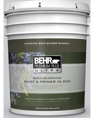 BEHR ULTRA 5 gal. #PPU26-16 Hush Semi-Gloss Enamel Interior Paint and Primer in One