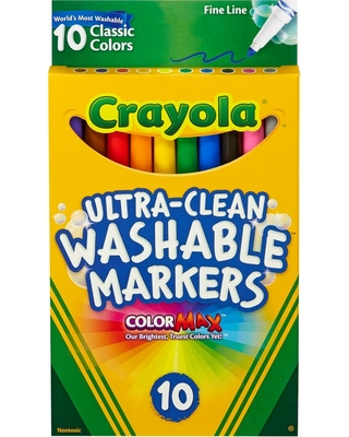 Crayola Ultra-Clean Markers Fine Line Washable 10ct Classic Colors, Multi-Colored