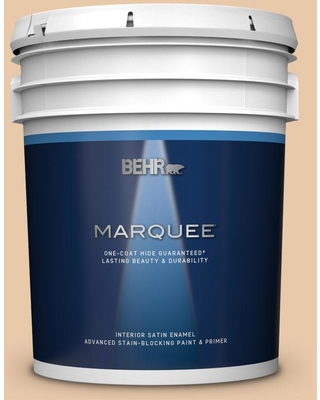 BEHR MARQUEE 5 gal. #S250-2 Almond Biscuit Satin Enamel Interior Paint and Primer in One