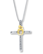 Cross Necklace 1/15 ct tw Diamonds Sterling Silver/10K Gold