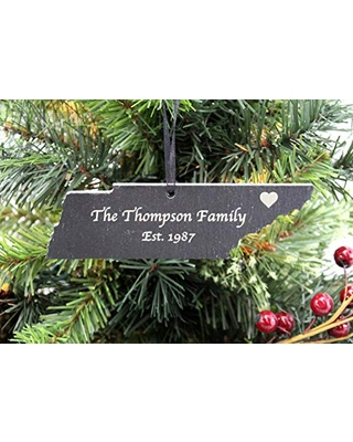 Custom Tennessee Black Slate Christmas Ornament- Personalized with Laser Engraving