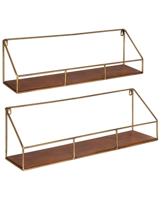 2pc Westland Wood and Metal Floating Wall Shelves Walnut Brown - Kate & Laurel All Things Decor