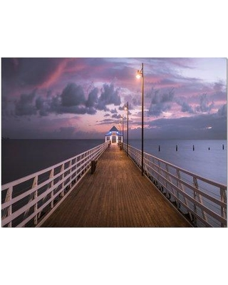 "East Urban Home 'Beautiful Sunrise on the Pier' Photographic Print on Wrapped Canvas ETUC2512 Size: 30"" H x 40"" W 1.5"" D"