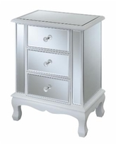 Convenience Concepts Gold Coast Vineyard 3 Drawer Mirrored End Table - White