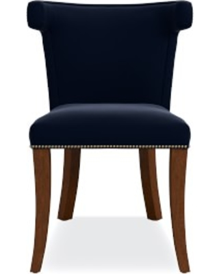 Regency Side Chair, Antique Brass, Signature Velvet, Indigo, Walnut Leg