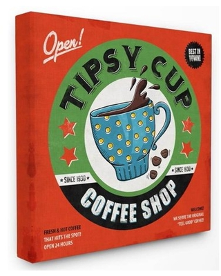 Stupell Industries Coffee Shop Vintage Comic Book Design Canvas Wall Art by Ester Kay