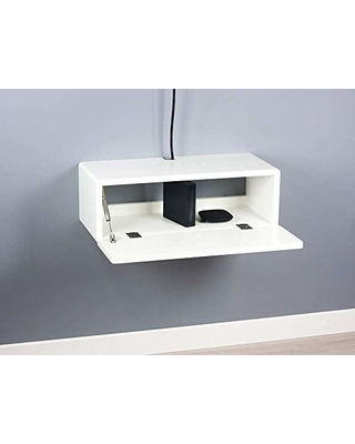 newest ad06f f91ba Spark Shell Craft Blanca White Modern Floating Media Console, Wall Mount TV  Stand, Entertainment Cabinet 24