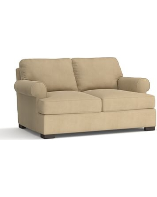 """Townsend Roll Arm Upholstered Loveseat 79"""", Polyester Wrapped Cushions, Performance Everydaysuede(TM) Light Wheat"""