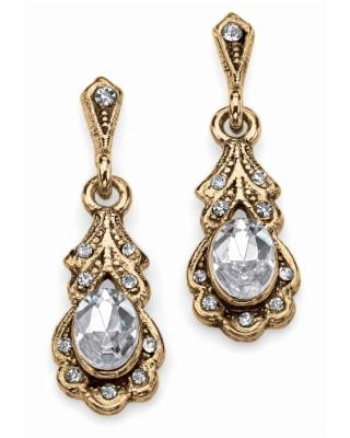 Women's Gold Tone Antiqued Oval Cut Simulated Birthstone Vintage Style Drop Earrings by Palmbeach Jewelry in April (Size 0)