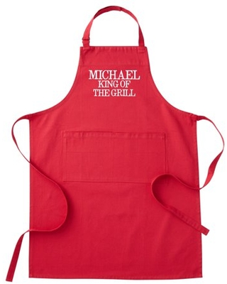 Personalized Family Fun Embroidered Grill Apron - Red Adult - Block