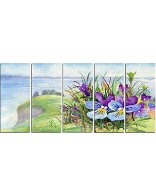 Design Art 'Spring Violet Flowers on Mountain' Oil Painting Print Multi-Piece Image on Canvas PT15491-401