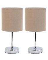 Simple Designs Chrome Mini Basic Table Lamp with Fabric Shade 2 Pack Set - Gray