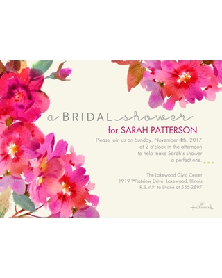 Wedding Shower Invitations 5x7 Cards, Premium Cardstock 120lb, Card & Stationery -Watercolor Floral