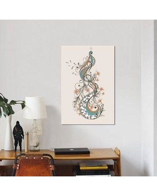 """East Urban Home 'Peacock' Graphic Art Print on Wrapped Canvas ESRB9417 Size: 18"""" H x 12"""" W x 1.5"""" D"""