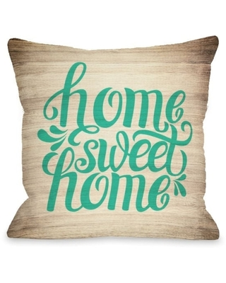 Home Sweet Home Wood - Green Pillow by OBC (18 x 18)
