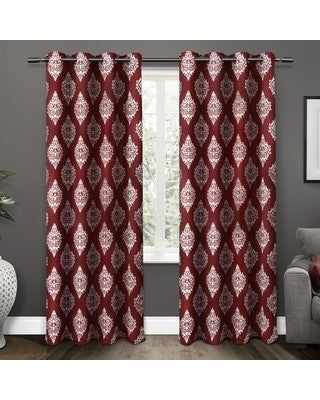 "Gracewood Hollow Corine Medallion Pattern Blackout Curtain Panel Pair (52"" W X 84"" L - Burgundy)"