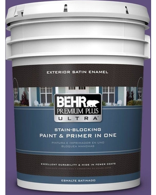 BEHR Premium Plus Ultra 5 gal. #S-G-650 Berry Syrup Satin Enamel Exterior Paint and Primer in One
