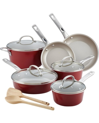 Ayesha Curry Home Collection 12-Piece Sienna Red Porcelain Enamel Nonstick Cookware Set