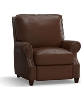 James Leather Recliner, Down Blend Wrapped Cushions, Leather Statesville Caramel