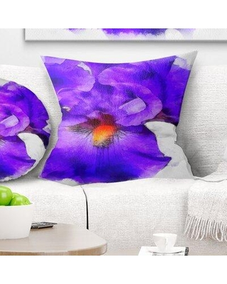 East Urban Home Floral Iris Flower Sketch Watercolor Pillow, Product Type: Throw Pillow, Polyester/Polyfill/Polyester/Polyester blend in White