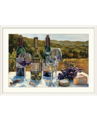"""Great Big Canvas 'A Wine Tasting' by Marilyn Hageman Painting Print 1050839_1 Format: White Framed Size: 28"""" H x 38"""" W x 1"""" D"""