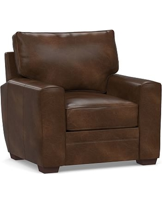 Pearce Square Arm Leather Recliner, Polyester Wrapped Cushions, Vintage Cocoa