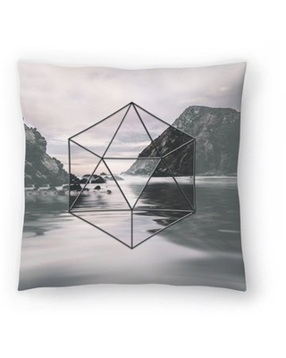 "Landscape Surreal Geometry Throw Pillow East Urban Home Size: 16"" H x 16"" W x 1.5"" D"
