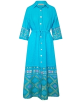 Women's Recycled Blue Cotton Maxi Linen Shirt-Dress With Embroidered Panels-Tropical Sea XS Haris Cotton