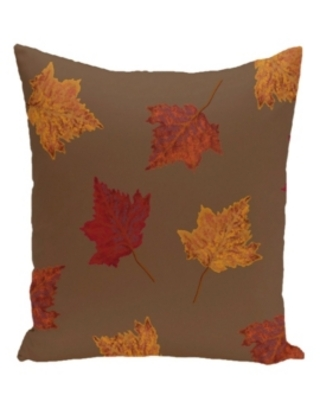 16 Inch Brown Decorative Floral Throw Pillow