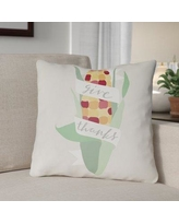 """The Holiday Aisle Give Thanks Indoor/Outdoor Throw Pillow HLDY1195 Size: 18"""" H x 18"""" W x 4"""" D, Color: White/Green/Red/Yellow"""
