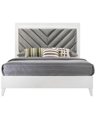 Acme Furniture Chelsie Gray Fabric & White Finish Queen Upholstered Headboard Bed