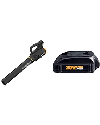 WORX WG547 20V (2.0Ah) Power Share Cordless Turbine Blower, 2-Speed, Battery and Charger Included, Black/Orange & WA3525 20V PowerShare 2.0 Ah Replacement Battery
